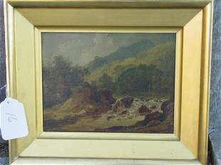19th c. landscape oil painting on panel