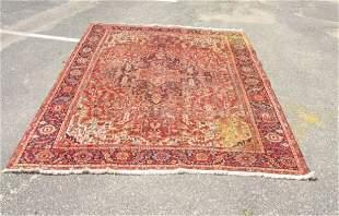 antique Heriz oriental roomsize carpet