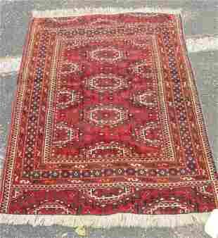 antique oriental carpet Bokhara carpet