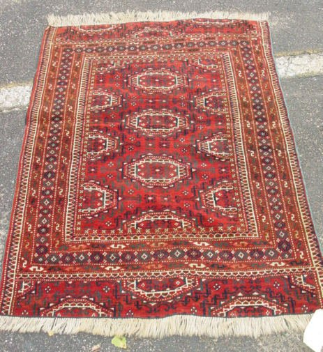 1: antique oriental carpet Bokhara carpet