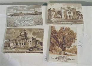4 antique calendar tiles
