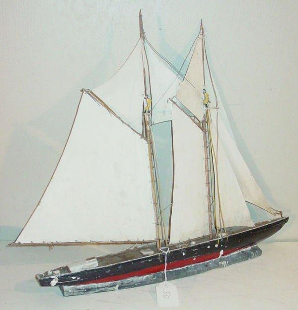 50: 2 masted ship weathervane