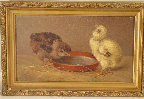 52: oil painting on board of chicks