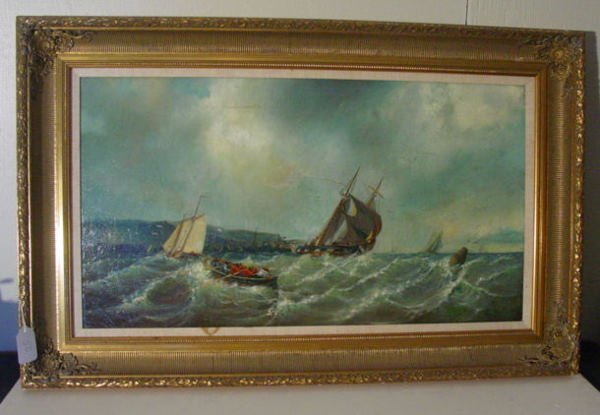 56: large panoramic oil painting on canvas