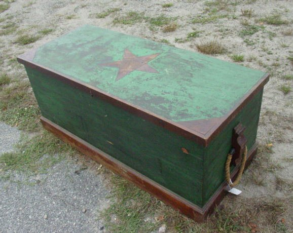 58: 19th c. sailors sea chest in green