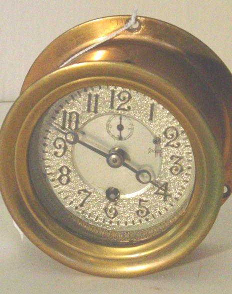 59: late 19th c. brass ships clock