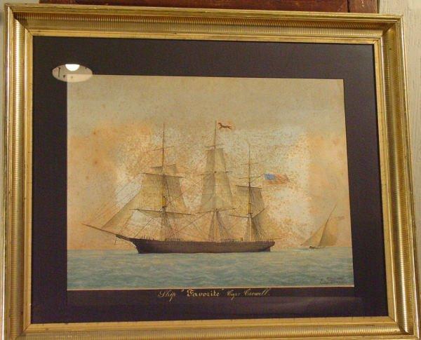 """60: Cape Cod ship """"Favorite"""" portrait gouache"""