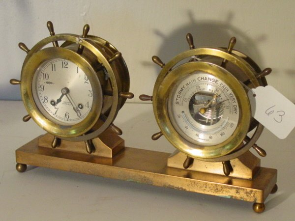 63: brass Chelsea ships clock and barometer
