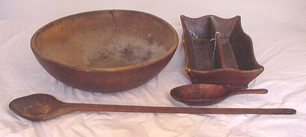 2: 19th c lot of wooden ware including cutler