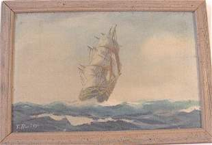 Oil on canvas of ship signed T. Bailey