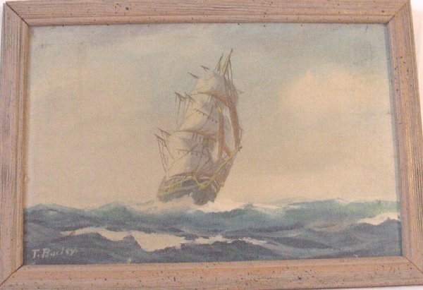 3: Oil on canvas of ship signed T. Bailey