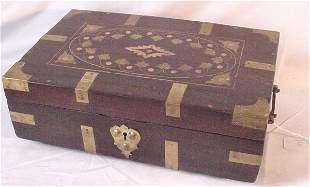 19th c. brass bound rosewood box