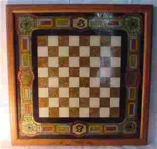 "Folk art game board, 15"" x 15"", circa 1880"