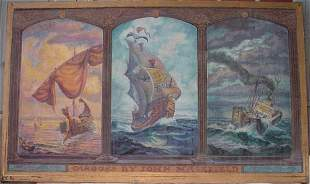 Triptych nautical painting -John Masefield