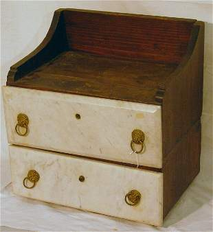 Two drawer apothecary cabinet with marble