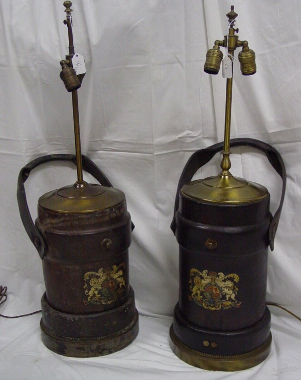 16A: Pr leather fire bucket lamps, circa 1900