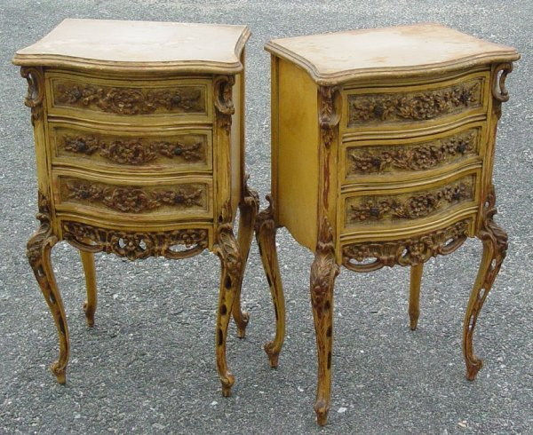 18: Pair carved French style nightstands, top