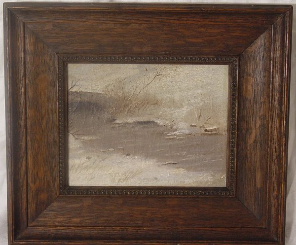 9: Framed oil on board winter scene