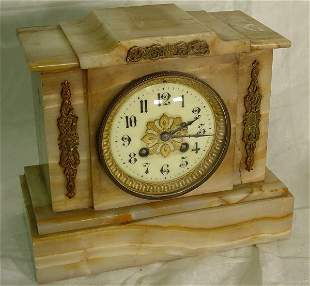 Marble mantel clock, antique marble mantel