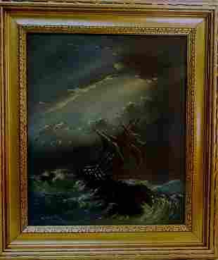 "nautical oil on canvas, 14"" x 17"""