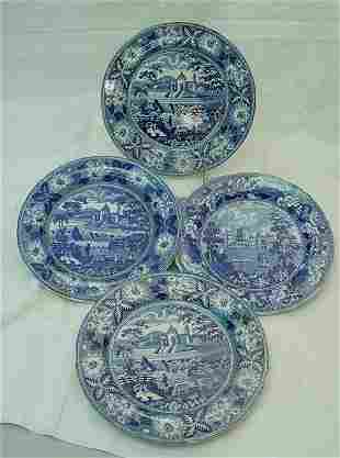 """Four 10"""" blue Staffordshire plates, as is"""