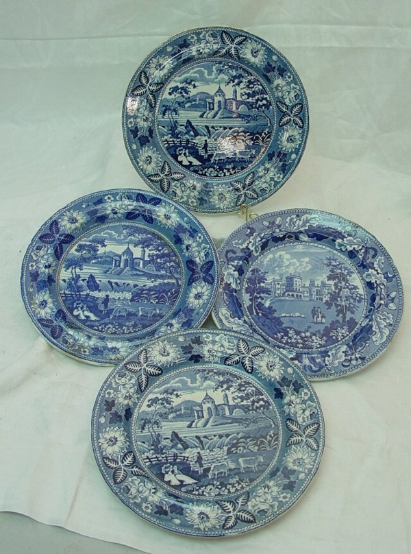 "1005: Four 10"" blue Staffordshire plates, as is"