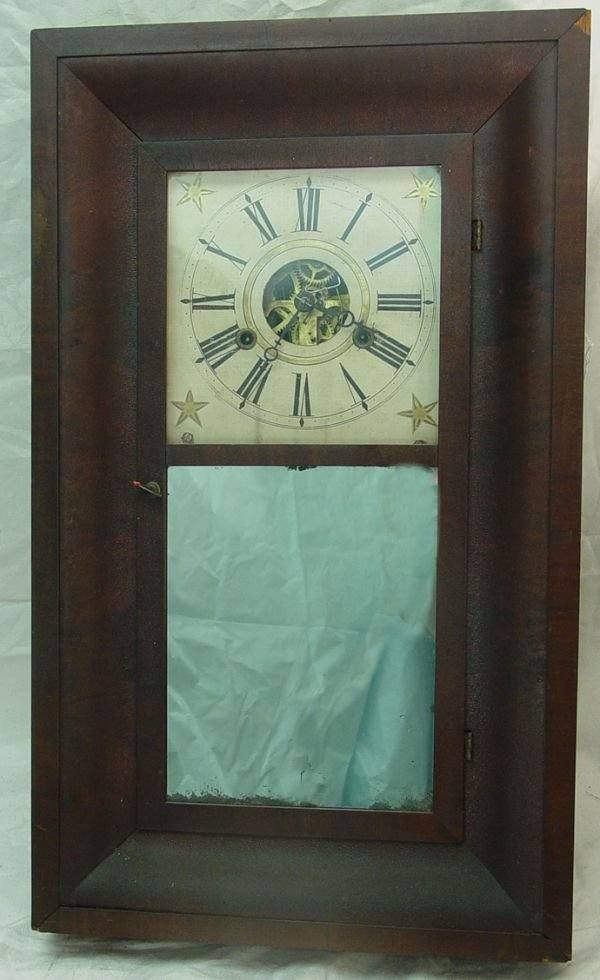 1012: antique Bliss wall clock, circa 1850 ogee