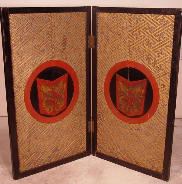 1013: 19th c. wooden Chinese screen, two panels