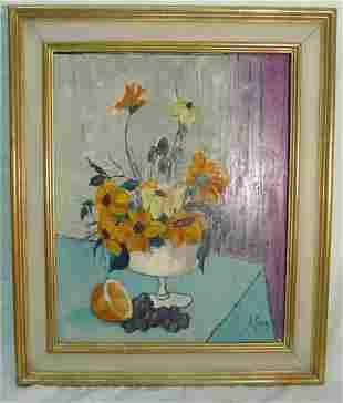 J. Bessay still life oil on canvas