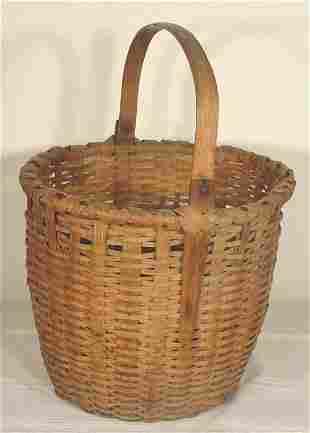 """large antique split handled basket, 12"""" t"""
