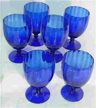 6 cobalt water goblets, set 6 cobalt blue