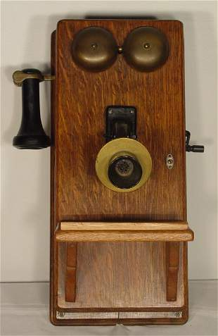 Antique oak wall telephone, patented July