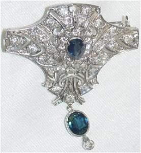 1127: antique sapphire and diamond brooch