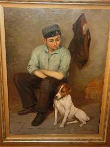 1153: Paul Graff oil painting - boy with dog