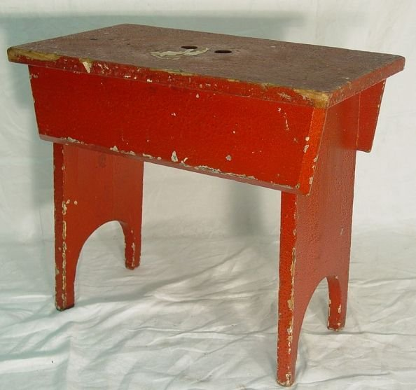 antique red painted stool