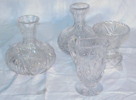 15: 4 piece cut glass lot including vases
