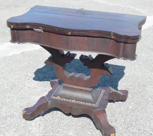 16: Period Empire mahogany card table, (as is