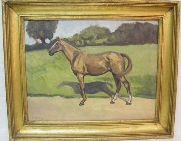 20: Early 20th c. Oil on canvas of horse