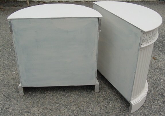 24: Pair custom marble top tables, demilune,