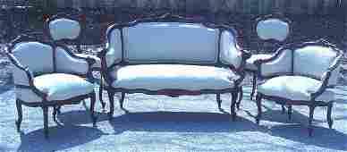 86: Wonderful Victorian parlor suite, carved