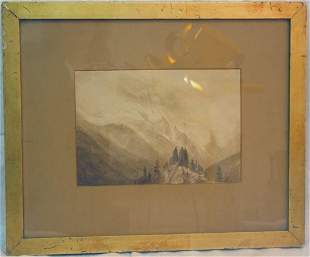 sepia and watercolor of mountains