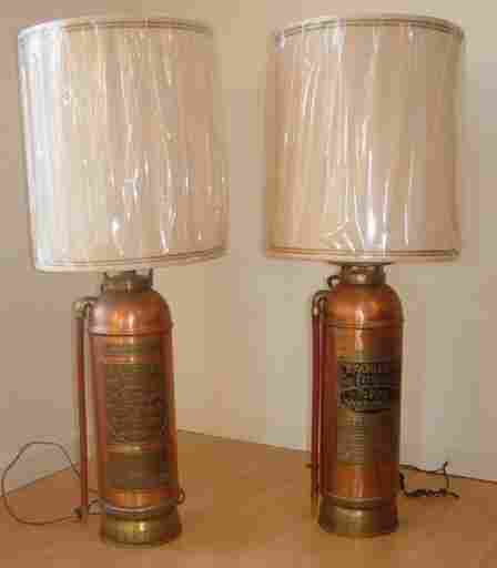 two fire extinguisher lamps