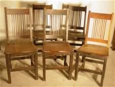 1088: 5 Mission oak chairs