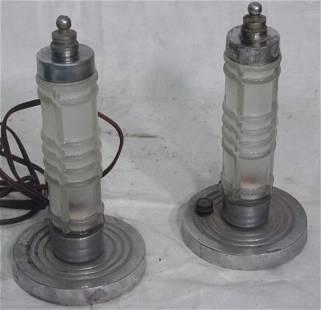 Pair art deco lamps
