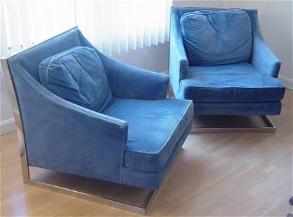 Pair modern chrome chairs