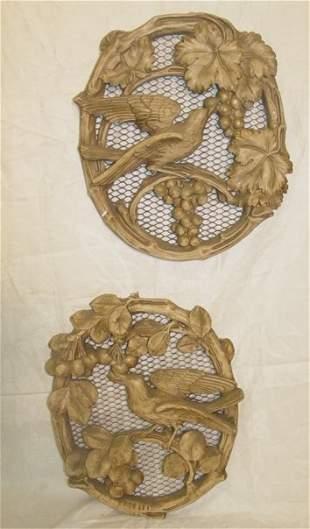 Pair bird plaques