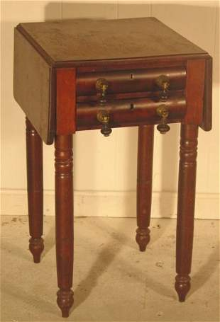 1171A: Two drawer mahogany empire work table
