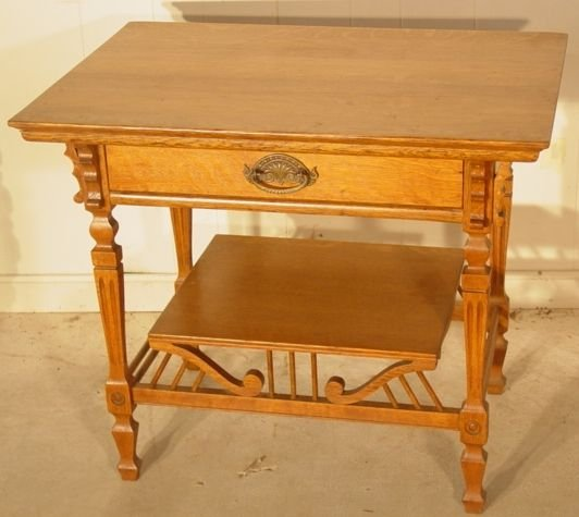 166A: Victorian Oak library table with one drawer