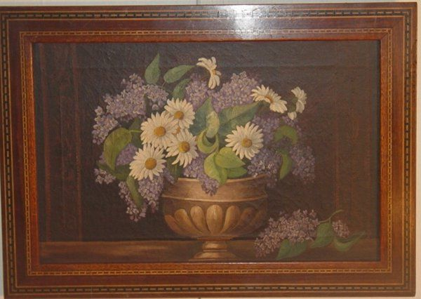 folk art oil floral still life