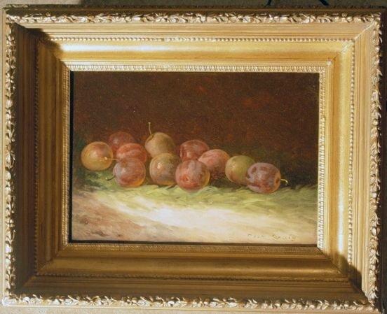 2013A: C. Craig oil still life of plums
